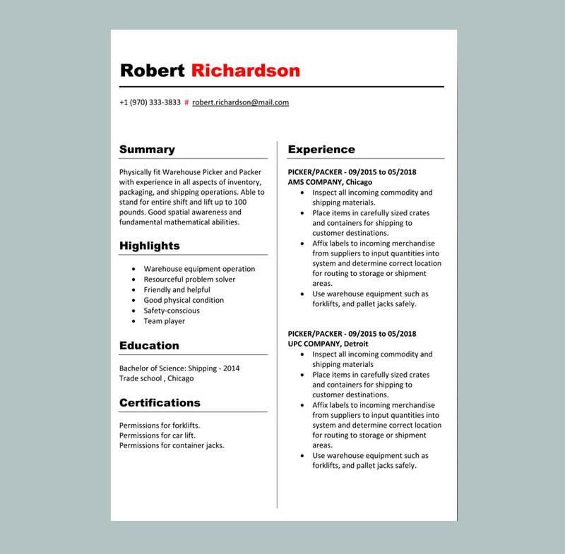 Picker Resume Template
