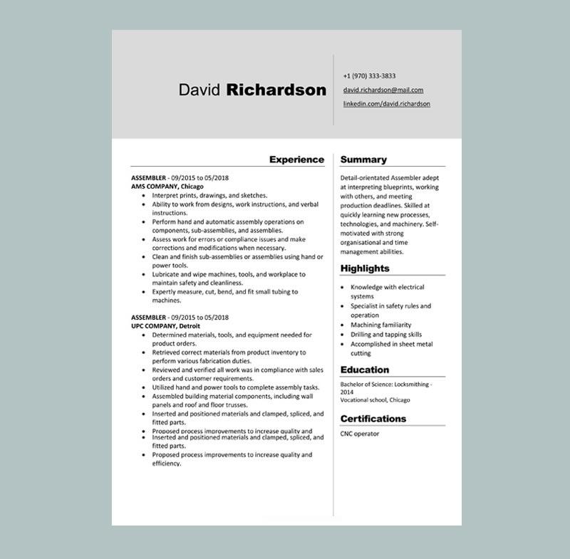 Assembler Resume Template