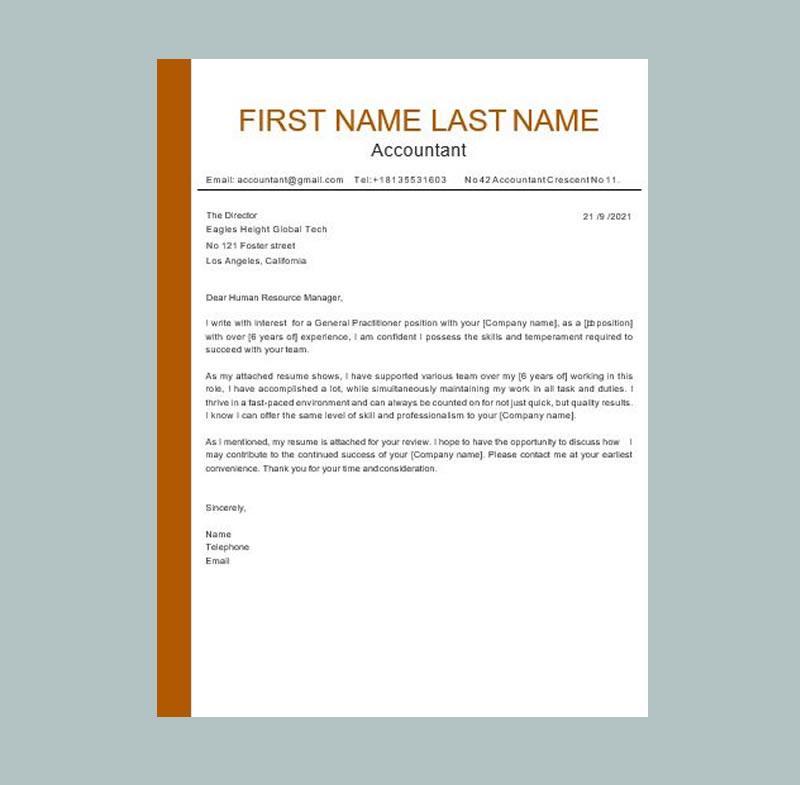 Nova Word Cover letter